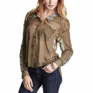 Free People Olive Button Down Top Blouse Size M